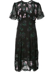 Coach Floral Detail Short Sleeve Dress Women Viscose 0 Black