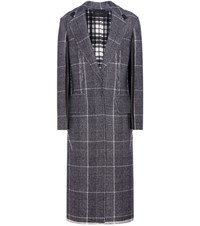 Calvin Klein Janca Plaid Leather Trimmed Wool Coat Black