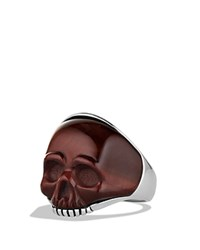 David Yurman Waves Carved Skull Ring With Red Tiger's Eye Red Silver