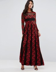 Pixie And Diamond Embroidered Maxi Dress Black Red Lace Multi