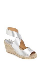 Bettye Muller Women's 'Mobile' Leather Wedge Espadrille Sandal Silver