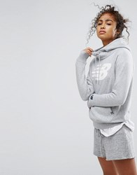 New Balance Pullover Logo Hoodie In Grey Athletic Grey