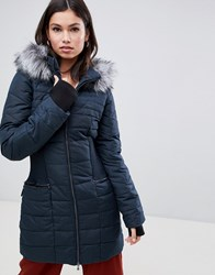 Y.A.S Gathered Waist Parka With Faux Fur Trim Hood Green