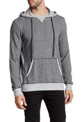 Velvet By Graham And Spencer Long Sleeve Contrast Hoodie Gray