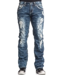 Affliction Blake Fleur De Lis Relaxed Fit Ripped Jeans Bayside Wash