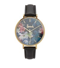 Harrods Floral Printed Collection Watch Black