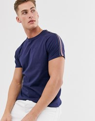 Threadbare Panel T Shirt With Taping In Navy