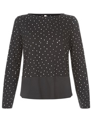 People Tree Apperly Dot Jersey Top Black
