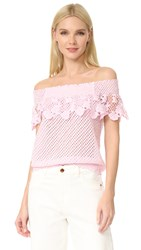 Temptation Positano Lace Off Shoulder Blouse Rosa