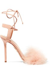 Charlotte Olympia Salsa Feather Trimmed Suede Sandals Baby Pink