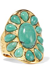 Aurelie Bidermann Gold Plated Turquoise Ring 52