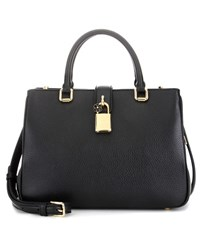 Dolce And Gabbana Shopping Small Leather Cross Body Bag Black