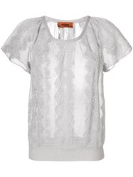 Missoni Embroidered Short Sleeve Top Grey