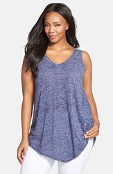 Plus Size Women's Sejour 'Triangle' Sheer Knit V Neck Tank Navy Peacoat Triblend Pattern