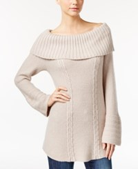 Styleandco. Style Co. Petite Off The Shoulder Cable Knit Sweater Only At Macy's Oatmeal Heather