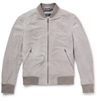 Hugo Boss Perforated Suede Bomber Jacket Gray