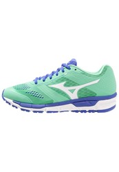 Mizuno Synchro Mx Cushioned Running Shoes Electric Green White Dazzling Blue Mint