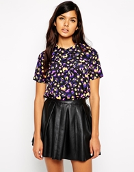 Max C London Max C Top With Collar In Blurred Animal Print Black