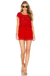 Ella Moss Broderie Anglaise Romper Red