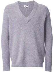 H Beauty And Youth. Ribbed V Neck Jumper Grey