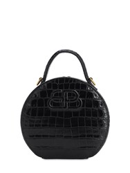 Balenciaga Xs Vanity Croc Embossed Leather Bag Black