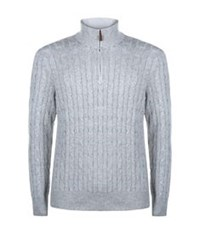 Polo Ralph Lauren Zip Neck Cable Knit Sweater Light Grey