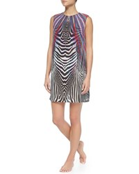 Gottex Rainbow Zebra Print Tunic Dress Multi Pink