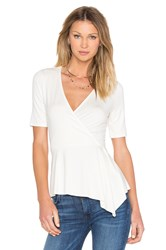 Three Dots Dacey Wrap Top Ivory
