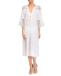 Lise Charmel Plunging Coverup Dress With Lace Insets White