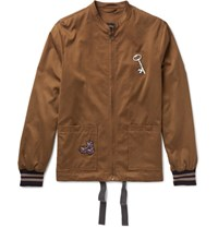 Lanvin Appliqued Brushed Satin Bomber Jacket Brown