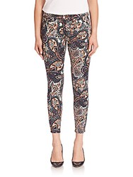 7 For All Mankind Paisley Print Skinny Ankle Jeans Paisley Brown
