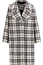 Carven Checked Wool Coat White
