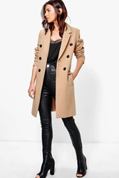 Boohoo Double Breasted Coat Camel
