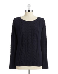 Anne Klein Cable Knit Pullover Midnight Navy