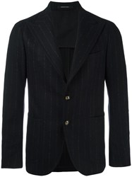 Tagliatore Lightly Striped Blazer Black