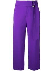 Le Ciel Bleu Relaxed Belted Trousers Women Polyester Acetate 34 Pink Purple