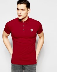 Antony Morato Jersey Polo Shirt With Chest Badge Red