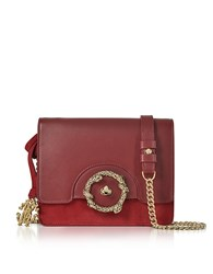 Roberto Cavalli Crimson Leather And Suede Small Shoulder Bag Red