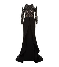 Mikael D Embellished Double Slit Gown Female Black
