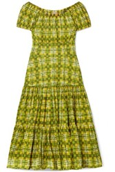 Michael Kors Collection Off The Shoulder Checked Tiered Cotton Poplin Midi Dress Lime Green