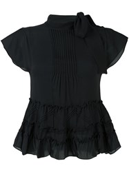 Red Valentino Ruffle Blouse Black