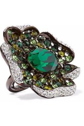 Kenneth Jay Lane Gunmetal Tone Crystal Ring Emerald