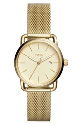 Fossil Women's The Commuter Mesh Strap Watch 34Mm Gold