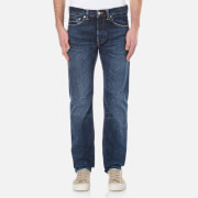 Edwin Men's Ed 80 Slim Tapered Red Listed Selvedge Denim Jeans Contrast Clean Wash Blue