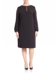 Basler Plus Size Gold Lace Sleeve Crepe Dress Black