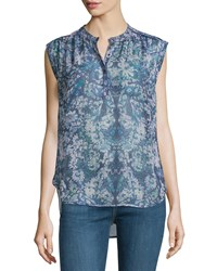 Rebecca Taylor Kiku Floral Sleeveless Blouse Navy