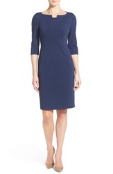 Women's Classiques Entier Notch Neck Ponte Sheath Dress Navy Peacoat