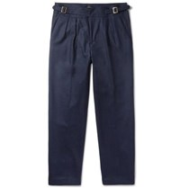 Rubinacci Manny Tapered Pleated Wool Trousers Navy