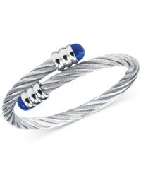 Charriol Women's Celtic Lapis Lazuli Accent Stainless Steel Cable Bangle Bracelet Silver