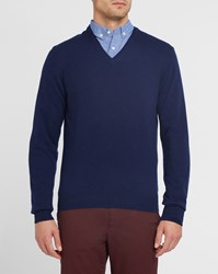 Hackett Navy V Neck Contrasting Elbow Patches Sweater Blue
